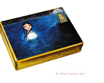 Moonlight - ACEO Giclee print mounted on Wood (2.5 x 3.5 inches) Folk Art  by FLOR LARIOS