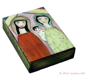 Nativity II - Aceo Giclee print mounted on Wood (2.5 x 3.5 inches) Folk Art  by FLOR LARIOS