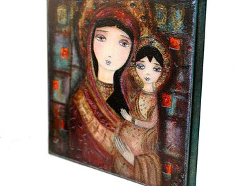 Mother of Tenderness -  Giclee print mounted on Wood (8 x 8 inches) Folk Art  by FLOR LARIOS
