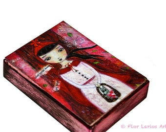 Little red Riding Hood - ACEO Giclee print mounted on Wood (2.5 x 3.5 inches) Folk Art  by FLOR LARIOS