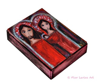 Christmas Day Nativity- Aceo Giclee print mounted on Wood (2.5 x 3.5 inches) Folk Art  by FLOR LARIOS
