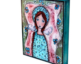 Garden Fairy  -  Giclee print mounted on Wood (4 x 5 inches) Folk Art  by FLOR LARIOS