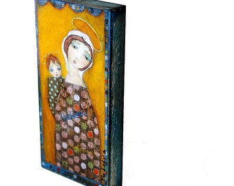 Mother and Child -  Giclee print mounted on Wood (3 x 6inches) Folk Art  by FLOR LARIOS