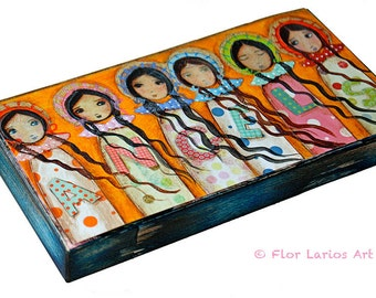 Angels -  Giclee print mounted on Wood (5 x 10 inches) Folk Art  by FLOR LARIOS