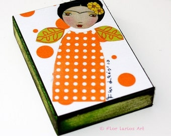 Frida Mujer- Woman - ACEO Giclee print mounted on Wood (2.5 x 3.5 inches) Folk Art  by FLOR LARIOS