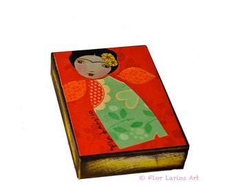 Frida Original - ACEO Giclee print mounted on Wood (2.5 x 3.5 inches) Folk Art  by FLOR LARIOS
