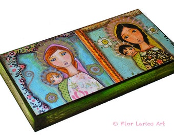Blonde and Black Madonna -  Giclee print mounted on Wood (5 x 10 inches) Folk Art  by FLOR LARIOS