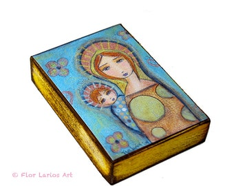 Blonde Mother with Child - ACEO Giclee print mounted on Wood (2.5 x 3.5 inches) Folk Art  by FLOR LARIOS