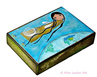 Moon Fairy - ACEO Giclee print mounted on Wood (2.5 x 3.5 inches) Folk Art  by FLOR LARIOS