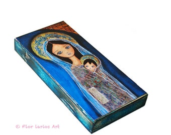 Nativity Star II  -  Giclee print mounted on Wood (3 x 6 inches) Folk Art  by FLOR LARIOS