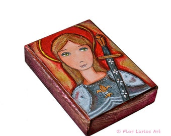 Joan of Arc - ACEO print mounted on Wood (2.5 x 3.5 inches) Folk Art  by FLOR LARIOS