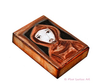Saint Francis of Assisi- Aceo Giclee print mounted on Wood (2.5 x 3.5 inches) Folk Art  by FLOR LARIOS