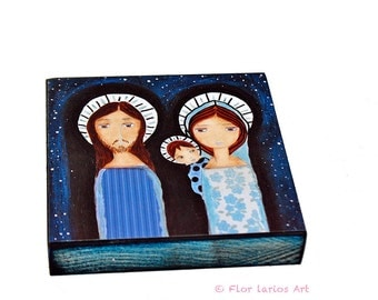 Starry Night Nativity -   Giclee print mounted on Wood (8 x 8 inches) Folk Art  by FLOR LARIOS