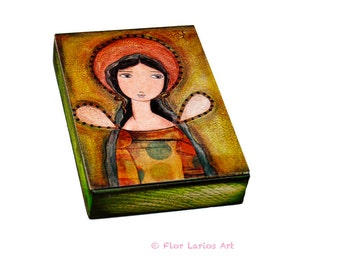 Green Angel -  ACEO Giclee print mounted on Wood (2.5 x 3.5 inches) Folk Art  by FLOR LARIOS