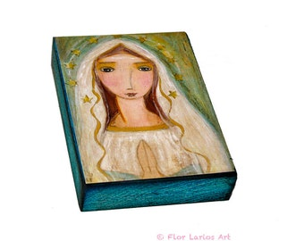 Our Lady of Lourdes  - First Communion - ACEO Giclee print mounted on Wood (2.5 x 3.5 inches) Folk Art  by FLOR LARIOS