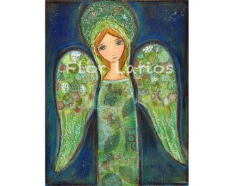 Angel Verde -  Print from Painting by FLOR LARIOS (6 x 8 inches)