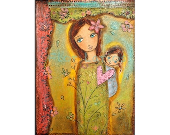 Nuestra Primavera - Our Spring- Mother Daughter Love - Print from Painting 6 x 8 inches By FLOR LARIOS