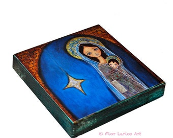 Nativity Star II -   Giclee print mounted on Wood (4 x 4 inches) by FLOR LARIOS