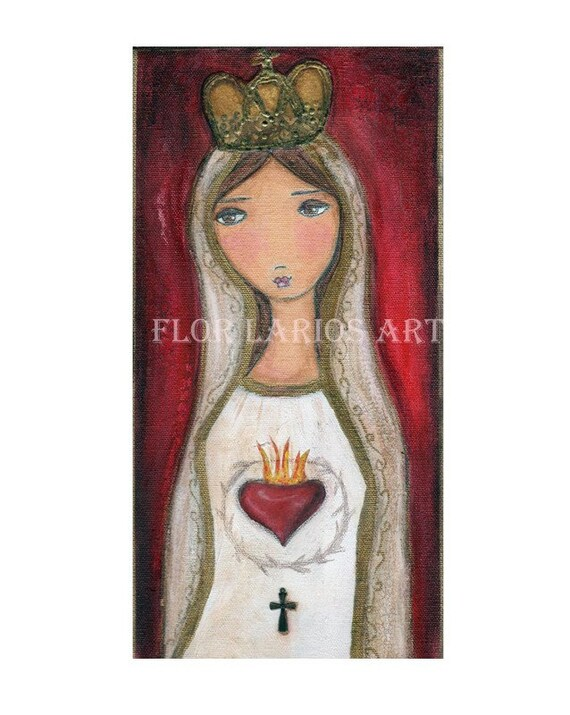 VALENTINE SALE - LA VIRGEN DE FATIMA - Mixed Media Original MADONNA - VIRGIN MARY Painting on Canvas Folk Art by FLOR LARIOS