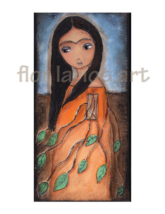 Frida Kahlo Roots - Reproduction from Painting by FLOR LARIOS (6 x 8 Inches Print)  )