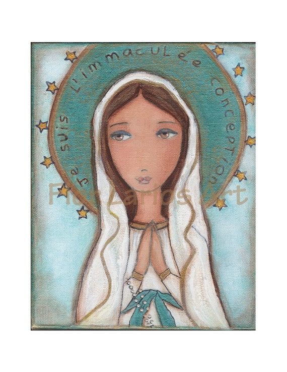 Je Suis L'imaculée Conception - Our Lady of Lourdes - Reproduction from Painting by FLOR LARIOS (6 x 8 Inches Print)  )