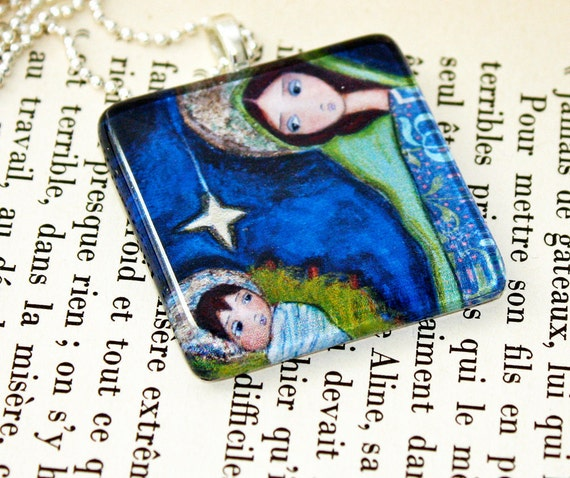 Nativity Star  - Original Glass Tile Pendant  by FLOR LARIOS Art