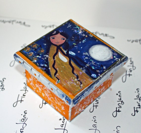 Night Fairy-  Original Mixed Media Handmade Jewelry Box Folk Art by FLOR LARIOS