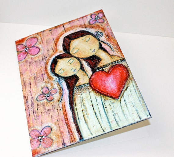 Un Solo Corazon Mother Daughter Love - Greeting Card 5 x 7 inches - Folk Art By FLOR LARIOS