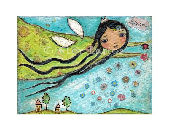 Spring Fairy -  PRINT from Painting by FLOR LARIOS (5 x 7 Inches)