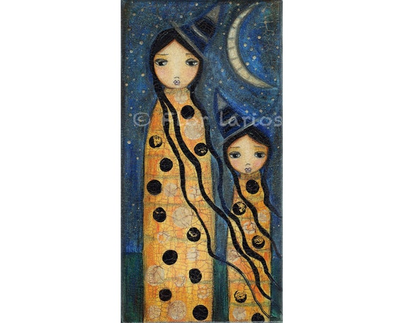 Like Mother Like Daughter - Witch - Witches - Halloween - Print from Painting by FLOR LARIOS (5 x 10 INCHES)