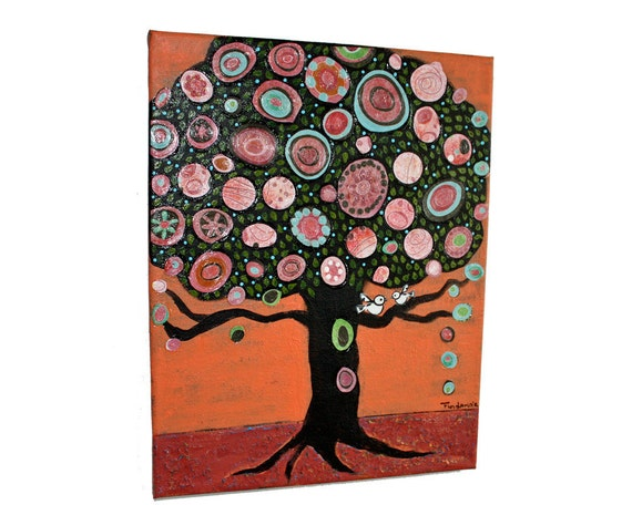Little White Birds -  Mixed Media Tree Painting on Canvas Folk art by FLOR LARIOS (11x 14 Inches))