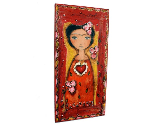 Frida and her Sacred Heart -  Original Painting on Wood by FLOR LARIOS