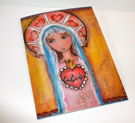 Mary and her Sacred Heart - Greeting Card 5 x 7 inches - Folk Art By FLOR LARIOS