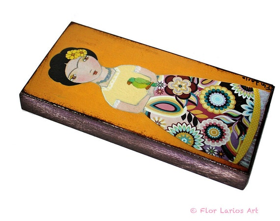 Frida with Parrot -  Giclee print mounted on Wood (3 x 6inches) Folk Art  by FLOR LARIOS