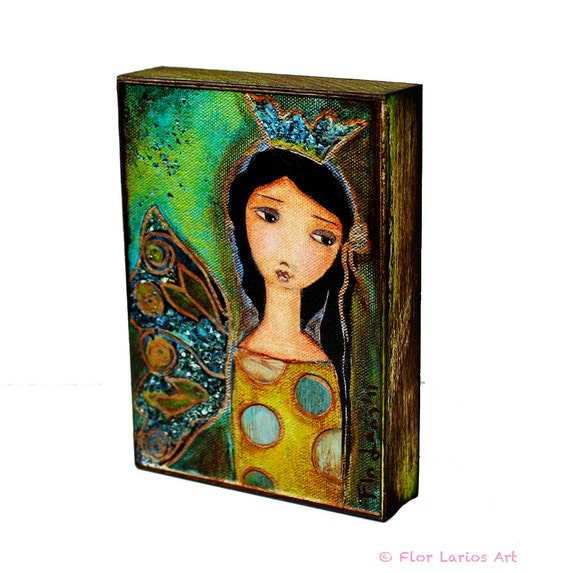 A Perfect Fairy - ACEO Giclee print mounted on Wood (2.5 x 3.5 inches) Folk Art  by FLOR LARIOS
