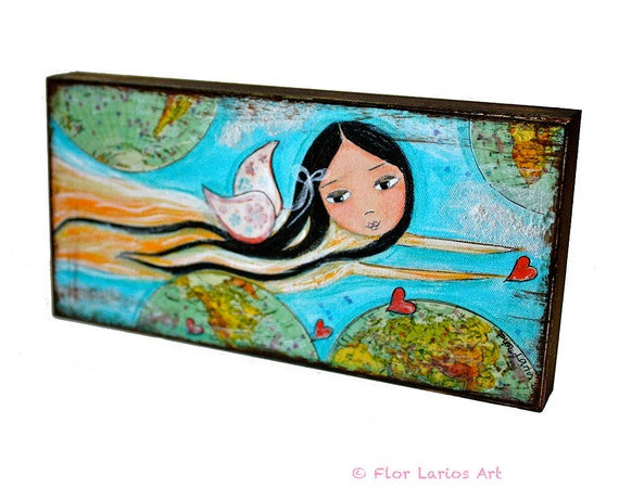 Give Love Fairy -  Giclee print mounted on Wood (3 x 6inches) Folk Art  by FLOR LARIOS
