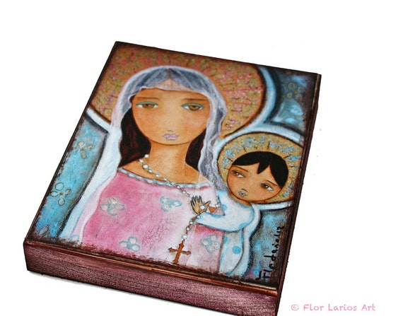 Mary with Rosary -  Giclee print mounted on Wood (4 x 5 inches) Folk Art  by FLOR LARIOS