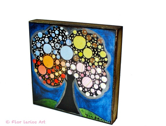 Blooming Tree -  Giclee print mounted on Wood (4 x 4 inches) Folk Art  by FLOR LARIOS