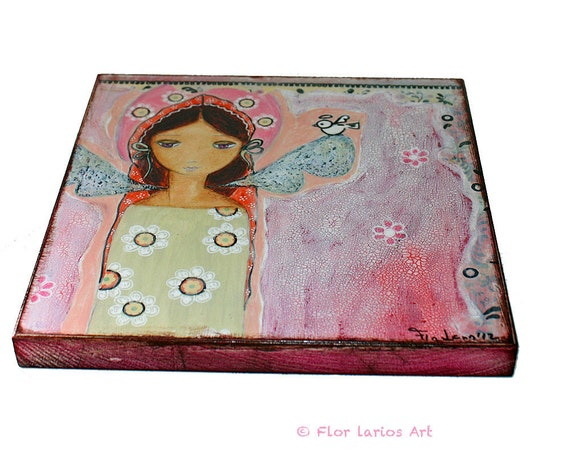 Labor Day Sale All Wood Blocks Buy one Get one Free - Angel with Little Bird - Print mounted on Wood (8 x 8 inches) Folk Art  by FLOR LARIOS