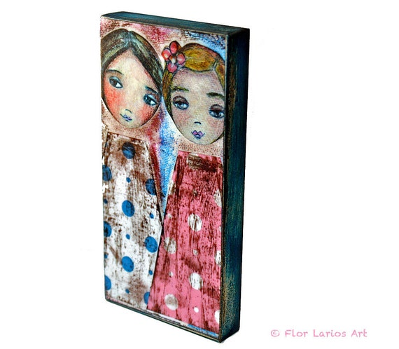 Girls -  Giclee print mounted on Wood (3 x 6inches) Folk Art  by FLOR LARIOS