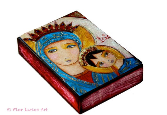 Our Lady of Perpetual Help III - Aceo Giclee print mounted on Wood (2.5 x 3.5 inches) Folk Art  by FLOR LARIOS