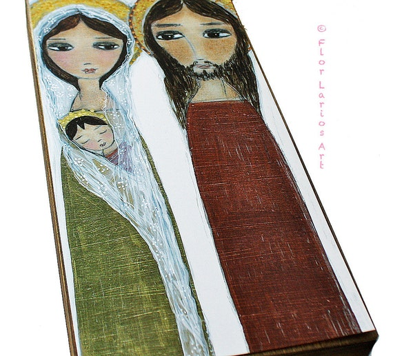 Sacred Family -  Giclee print mounted on Wood (3 x 6 inches) Folk Art  by FLOR LARIOS