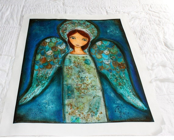 Angel Azul - Large Print on Fabric from Original Painting (16 x 20 inches) by FLOR LARIOS