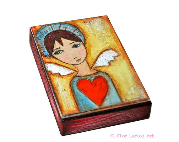 Angel Boy - ACEO Giclee print mounted on Wood (2.5 x 3.5 inches) Folk Art  by FLOR LARIOS