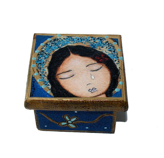 Tears - Self Portrait Angel -  Original Mixed Media Handmade Jewelry Box Folk Art by FLOR LARIOS