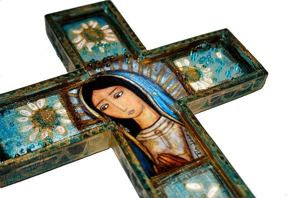 Our Lady of Guadalupe - La Virgen Morena - Wall Cross Mixed Media Art by FLOR LARIOS