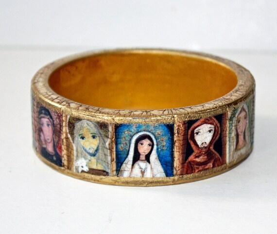 Madonnas - Saints - Jesus -  Original Wooden Bangle - Medium -  Folk Art by FLOR LARIOS