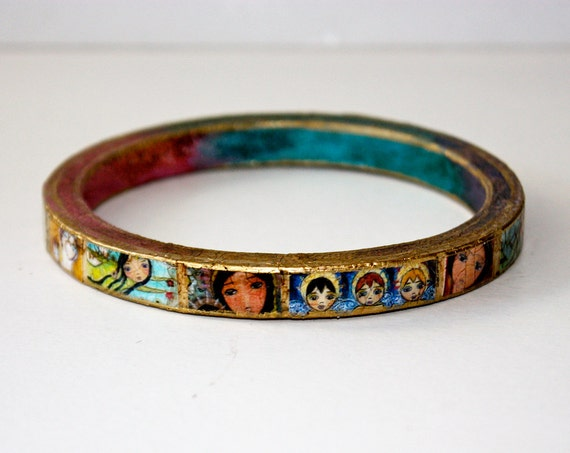 40% off today Only Sale - Angles- Madonnas - Fridas - Fairies  -  Original Wooden Bangle - Extra Large - XL-  Folk Art by FLOR LARIOS
