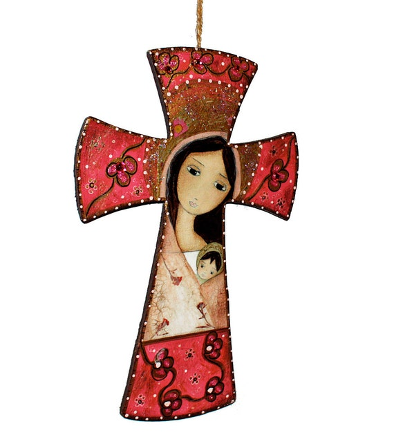 Sale 30% off this week only - Madonna in Pink - Wall Cross Mixed Media Art by FLOR LARIOS