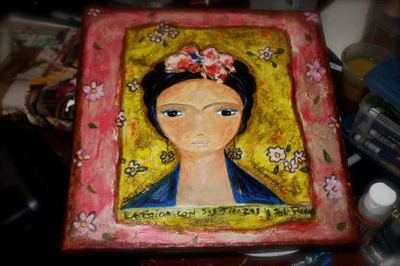 Sale 40% off - Use code: THANKYOU2012  - Frida with Braided Hair -  Original Mixed Media Painting on Canvas FLOR LARIOS 12 x 12 Inches